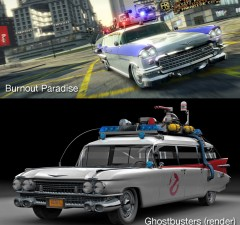 A comparison of a rendered ECTO-1 from Ghostbusters and Burnout Paradise.