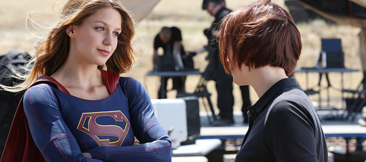 """Stronger Together"" -- When Kara's attempts to help National City don't go according to plan, she must put aside the doubts that she -- and the city's media -- has about her abilities in order to capture an escapee from the Kryptonian prison, Fort Rozz, when SUPERGIRL moves to its regular time period, Monday, Nov. 2 (8:00-9:00 PM, ET/PT) on the CBS Television Network. Pictured left to right: Melissa Benoist and Chyler Leigh  Photo: Cliff Lipson/CBS  ©2015 CBS Broadcasting, Inc. All Rights Reserved"