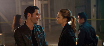 "LUCIFER: L-R: Tom Ellis and Lauren German in the ""Manly Whatnots"" episode of LUCIFER airing Monday, Feb. 15 (9:00-10:00 PM ET/PT) on FOX. ©2016 Fox Broadcasting Co. CR: Michael Courtney/FOX"