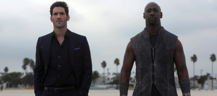 """LUCIFER: L-R: Tom Ellis and DB Woodside in the """"Wingman"""" episode of LUCIFER airing Monday, March 7 (9:01-10:00 PM ET/PT) on FOX. ©2016 Fox Broadcasting Co. CR: FOX"""