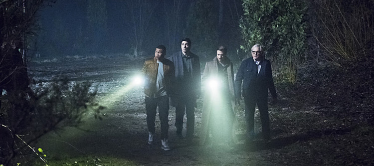 "DC's Legends of Tomorrow -- ""Leviathan""-- Image LGN113a_0400b.jpg -- Pictured (L-R): Franz Drameh as Jefferson ""Jax"" Jackson, Brandon Routh as Ray Palmer/Atom, Arthur Darvill as Rip Hunter and Victor Garber as Professor Martin Stein -- Photo: Dean Buscher/The CW -- © 2016 The CW Network, LLC. All Rights Reserved."