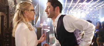 "LUCIFER: L-R: Rachael Harris and Tom Ellis in the ""Monster"" episode of LUCIFER airing Monday, Oct. 31 (9:01-10:00 PM ET/PT) on FOX.   ©2016 Fox Broadcasting Co. Cr: Bettina Strauss/FOX."