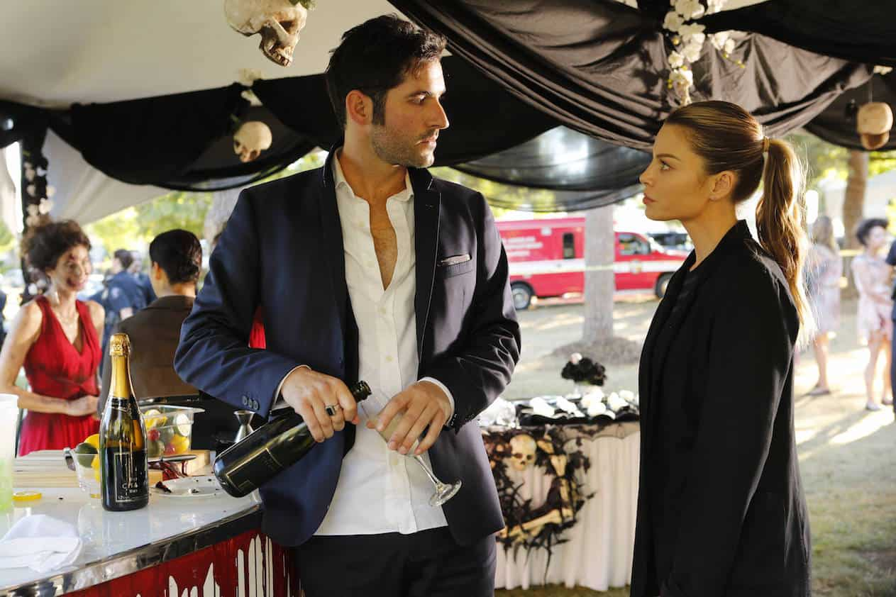 "LUCIFER: L-R: Tom Ellis and Lauren German in the ""Monster"" episode of LUCIFER airing Monday, Oct. 31 (9:01-10:00 PM ET/PT) on FOX. ©2016 Fox Broadcasting Co. Cr: Bettina Strauss/FOX."