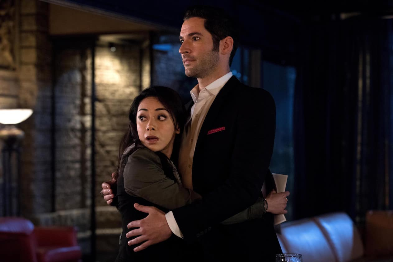 "LUCIFER: L-R: Aimee Garcia and Tom Ellis in the ""Trip To Stabby Town"" episode of LUCIFER airing Monday, Nov. 14 (9:01-10:00 PM ET/PT) on FOX. ©2016 Fox Broadcasting Co. Cr: Jack Rowand/FOX"