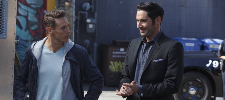 "LUCIFER: L-R: Kevin Alejandro and Tom Ellis in the ""My Little Monkey"" episode of LUCIFER airing Monday, Nov. 7 (9:01-10:00 PM ET/PT) on FOX.   ©2016 Fox Broadcasting Co. Cr: Michael Courtney/FOX."