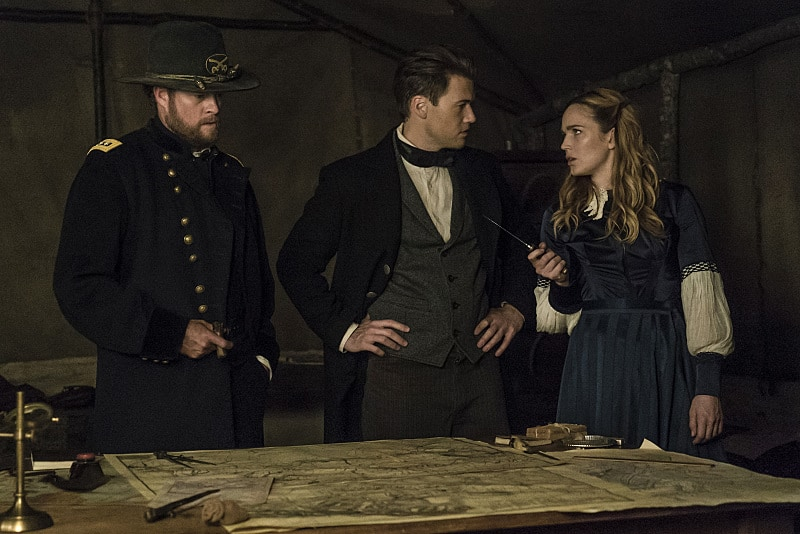 """DC's Legends of Tomorrow --""""Abominations""""-- Image LGN204b_0318.jpg -- Pictured (L-R): John Churchill as General Ulysses S. Grant, Nick Zano as Nate Heywood and Caity Lotz as Sara Lance/White Canary -- Photo: Katie Yu/The CW -- © 2016 The CW Network, LLC. All Rights Reserved."""