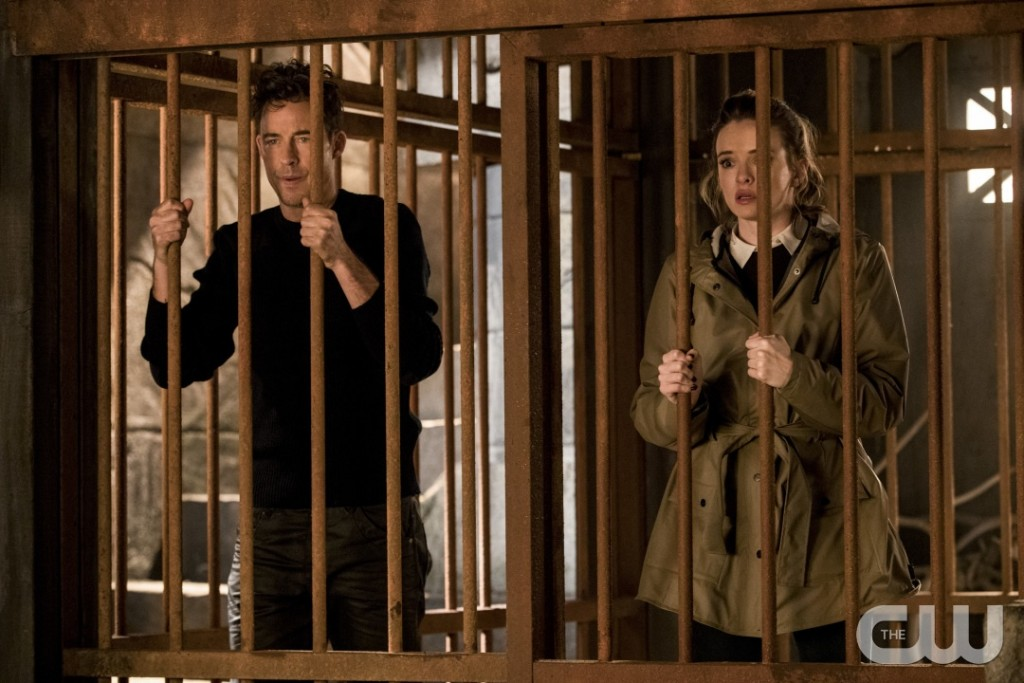 """The Flash -- """"Attack on Gorilla City"""" -- FLA313e_0230b.jpg -- Pictured (L-R): Tom Cavanagh as Harrison Wells and Danielle Panabaker as Caitlin Snow -- Photo: Jack Rowand/The CW -- © 2017 The CW Network, LLC. All rights reserved."""