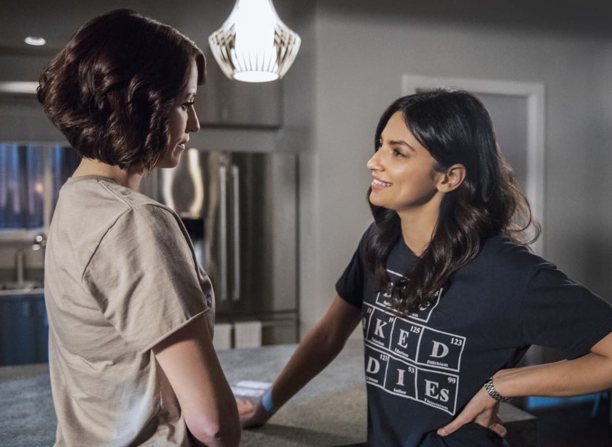 """Supergirl -- """"The Martian Chronicles"""" -- Image SPG211a_0343 -- Pictured (L-R): Chyler Leigh as Alex Danvers and Floriana Lima as Maggie Sawyer -- Photo: Dean Buscher/The CW -- © 2017 The CW Network, LLC. All Rights Reserved"""