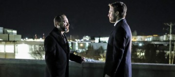 "Arrow -- ""Disbanded"" -- Image AR518a_0003b.jpg -- Pictured (L-R): David Nyki as Anatoly Knyazev and Stephen Amell as Oliver Queen -- Photo: Bettina Strauss/The CW -- © 2017 The CW Network, LLC. All Rights Reserved."