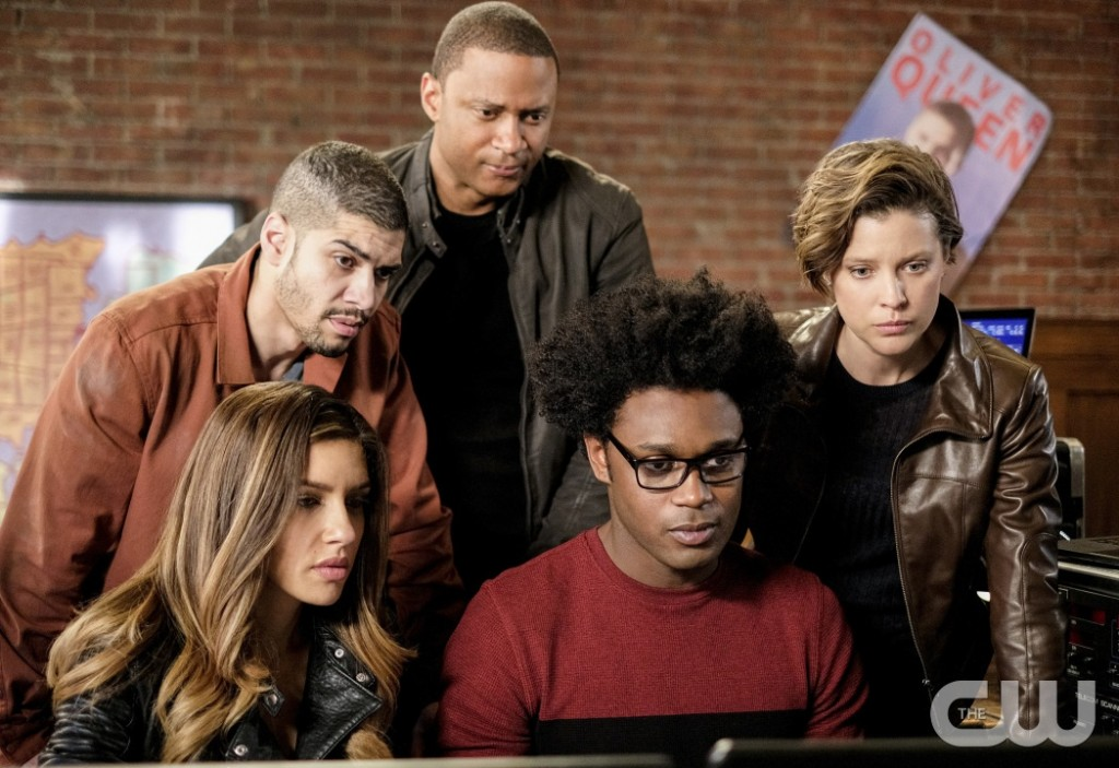 "Arrow -- ""Underneath""-- Image AR520b_0331b.jpg -- Pictured (L-R): Juliana Harkavy as Tina Boland/Dinah Drake, Rick Gonzalez as Rene Ramirez/Wild Dog, David Ramsey as John Diggle/Spartan, Echo Kellum as Curtis Holt/Mr.Terrific and Audrey Marie Anderson as Lyla Michaels -- Photo: Robert Falconer/The CW -- © 2017 The CW Network, LLC. All Rights Reserved."