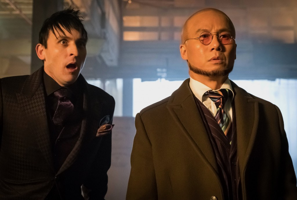 """GOTHAM: L-R: Robin Lord Taylor and guest star BD Wong in the first half of the special two-hour season finale episode of GOTHAM, """"Heroes Rise: Destiny Calling,"""" airing Monday, May 29 (8:00-9:00 PM ET/PT) on FOX. Cr: Jeff Neumann/FOX"""