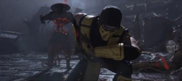 Scorpion kneeling after flying through Raiden in Mortal Kombat 11.