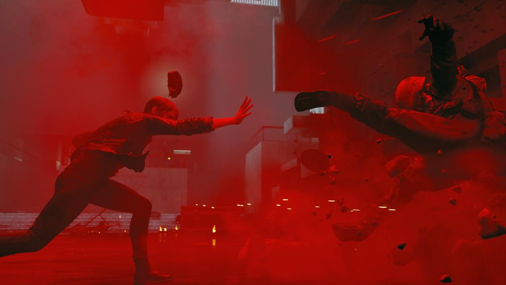 Jesse Faden from Control using telekinetic powers.